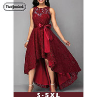 Pickyourlook 5XL Women Dress Plus Size Lace Solid Wedding Party Maxi Dress Sleeveless Summer Large Size Female Vestido De Festa