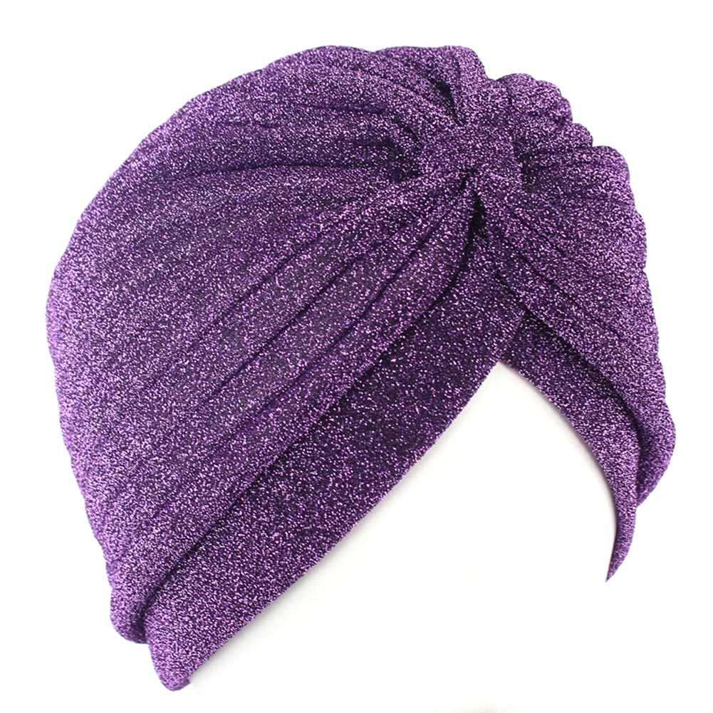 Bright Headband ผ้าไหม Turban สำหรับผู้หญิงมุสลิมอินเดียหมวกยืดนุ่ม Hajiabs Knot Twist HEAD Warp ผ้าพันคออุปกรณ์เสริมผม