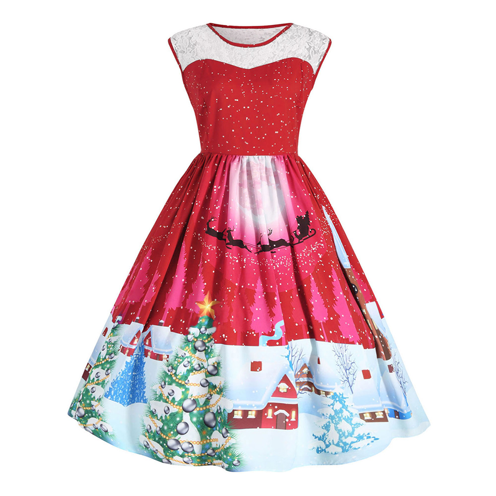 US $13.26 50% OFF|Wipalo Christmas Vintage Plus Size Dress Women Floral  Printed Knee Length Dress Cute Party Sleeveless Lace Dress Vestidos  Femme-in ...