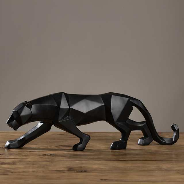 0b1580be 1pc Statues For Decoration Resin Modern Abstract sculpture Black Panther  Sculpture Gift Craft Office Home Decor #A30