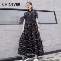 CHICEVER 2019 Summer Dress For Women Dot Chiffon Short Sleeve Stand Loose big Size Women's Dresses Clothes Fashion Casual New