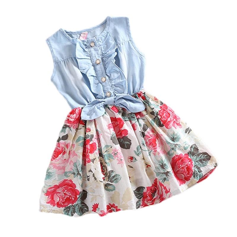 Cute Baby Girls Princess Dress Lovely Hot Kids Jean Denim Bow Flower Ruffled Sundress Dress For Girls Clothing