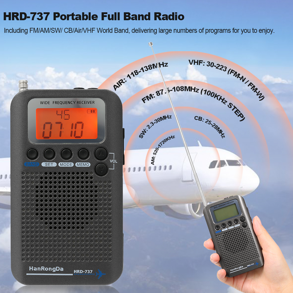 HanRongDa HRD 737 Portable Full Band Radio Aircraft Band Receiver FM AM SW CB Air VHF