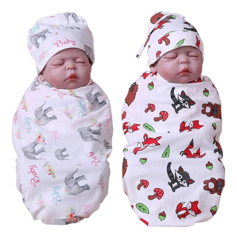 Pasgeborenen Matras Wrap Inbakeren Deken Badhanddoek Envelop Cartoon Baby Kinderschoenen Katoen Slapen Print Patroon Mat Hoed Grappige Warme Lof Van Klanten Winnen