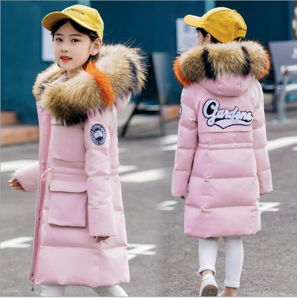 New Children 2018 down coat jackets real big fur hooded long coat parkas 8 10 12Y girl Russia winter clothing warm overcoat- 30 2017 new winter fashion women down jacket hooded thick super warm medium long female coat long sleeve slim big yards parkas nz18