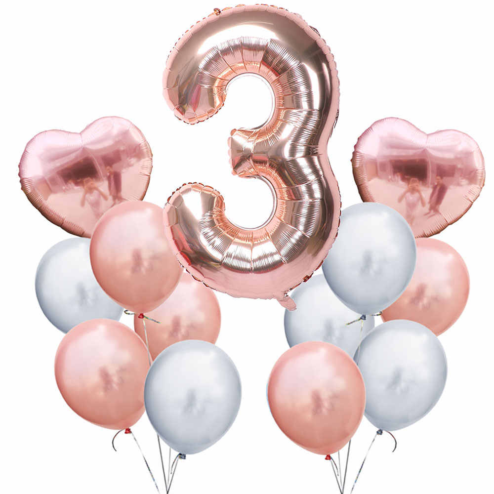 ZLJQ Rose Gold Number 3 Birthday Balloons Foil Helium 3rd Years Old Decoration