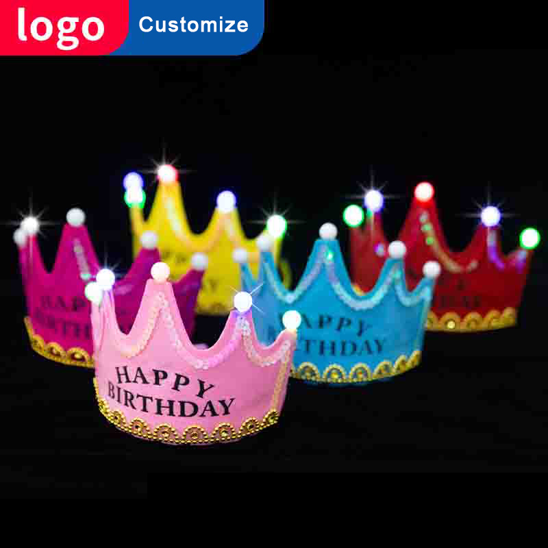 Happy Birthday Tiara Crown For Women Hairband Kids Girls Sweet 18th Party Accessories Decorations Baby Korona Led In Hair Jewelry From