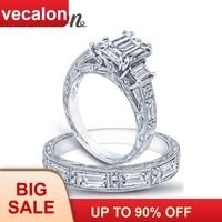 Vecalon Vintage Luxury Jewelry Women ring Princess cut AAAAA Zircon Cz 925 Sterling Silver wedding Band ring Set for women