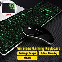 Светлый немой подсветкой Беспроводная игровая клавиатура и Мышь эргономичный Перезаряжаемые USB игровые наборы с Мышь pad для PC Gamer