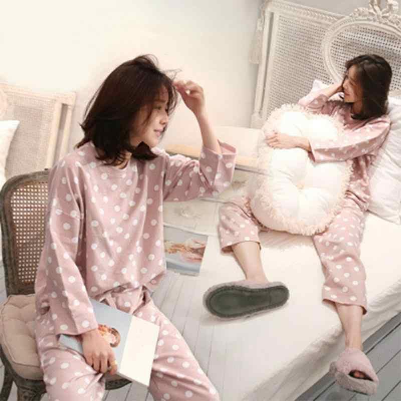 Sleepwear feminino pijamas bonito polka dot casual tops calças casa manga longa pijamas 2 peças