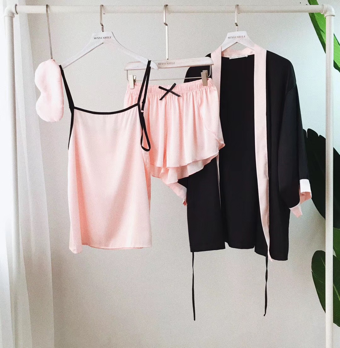 Summer Women Silk Soft Elegant   Pajamas     Sets   with Shorts Female Satin Casual Brief Pyjama Home Wear 4 Pieces Pijama Sleepwear