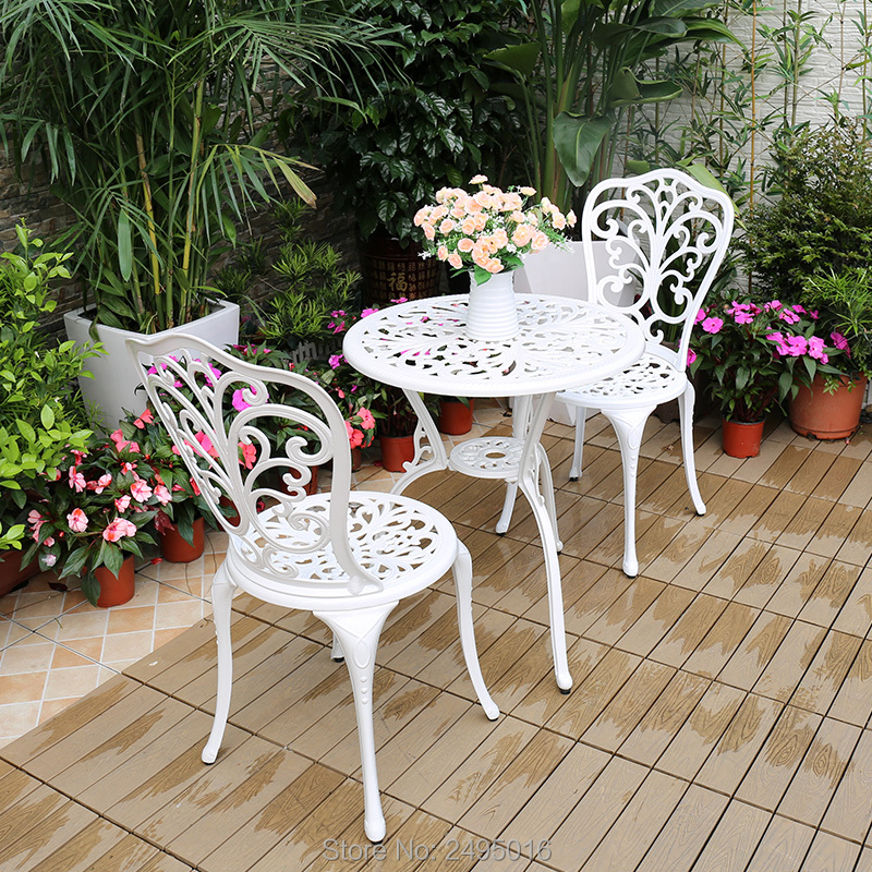 Купить с кэшбэком Outdoor Indoor use Patio Cast Aluminum Bistro Set table with 2 chairs in Antique Copper