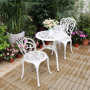 Image 4 - Outdoor uso Interno Patio in Fusione di Alluminio Bistro Set tavolo con 2 sedie in Rame Antico