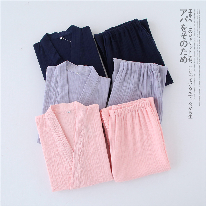 New Crepe Cotton Thin Solid Pajamas For Men And Women Short Short-sleeved Trousers Kimono Pijamas Suit Summer Sleepwear Pj Set