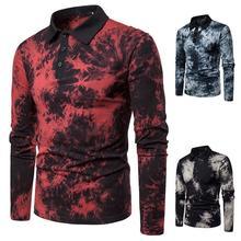Lapel Polo Shirt Men's Masculina Long sleeves Men Polo Shirt Casual Black Red Blue 2019 New Colorful design men colorful graffiti polo shirt
