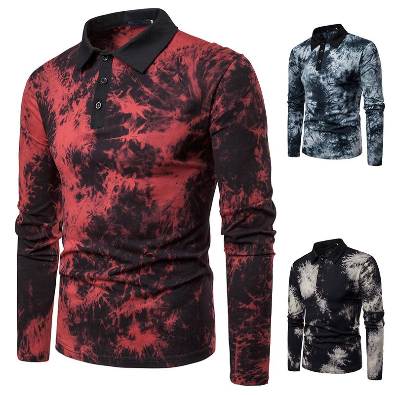 Lapel   Polo   Shirt Men's Masculina Long sleeves Men   Polo   Shirt Casual Black Red Blue 2019 New Colorful design
