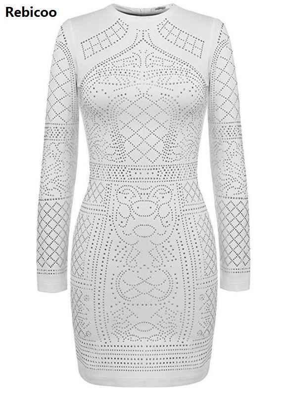 משלוח מהיר סקסי גיאומטרי רטרו ריינסטון גבוה צווארון ארוך שרוולים bodycon שמלת מסיבת שמלה