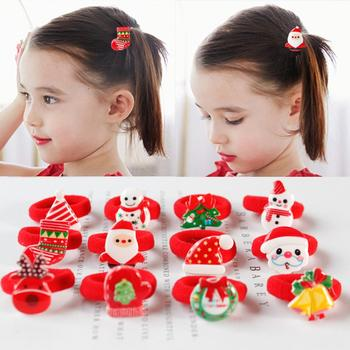New 3 Pairs Christmas Snowman Santa Claus Hair Rope Ring Women Ponytail Holder