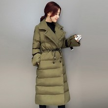 2018 Long Section Boutique Women Down Cotton jacket Warmth When Lapel Tightening Waist Cotton Braid Jacket Was Thin Padded Coat 2017 winter new slim was thin waist big yards long section of lamb wool padded cotton jacket women