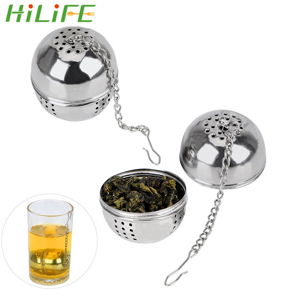 HILIFE For Loose Tea Leaf Spice Mesh Filter Strainer Hangable Ball Shape Tea Infuser Stainless Steel Home Kitchen Accessories