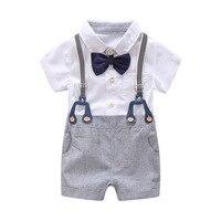 db050ea57 ... de bebé recién nacido ropa verano conjunto arco boda cumpleaños niños  en traje mameluco camisa caballero. 2019 For Bebek Newborn Baby Boy Summer  Clothes ...