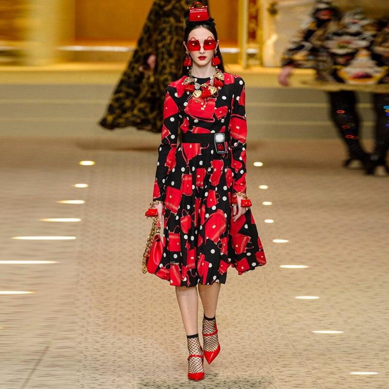 2018 zima w stylu Vintage czerwona torba drukuj kobiety Midi sukienka Runway projektant elegancka z długim rękawem pani boże narodzenie długa sukienka na imprezę odzież w Suknie od Odzież damska na  Grupa 1