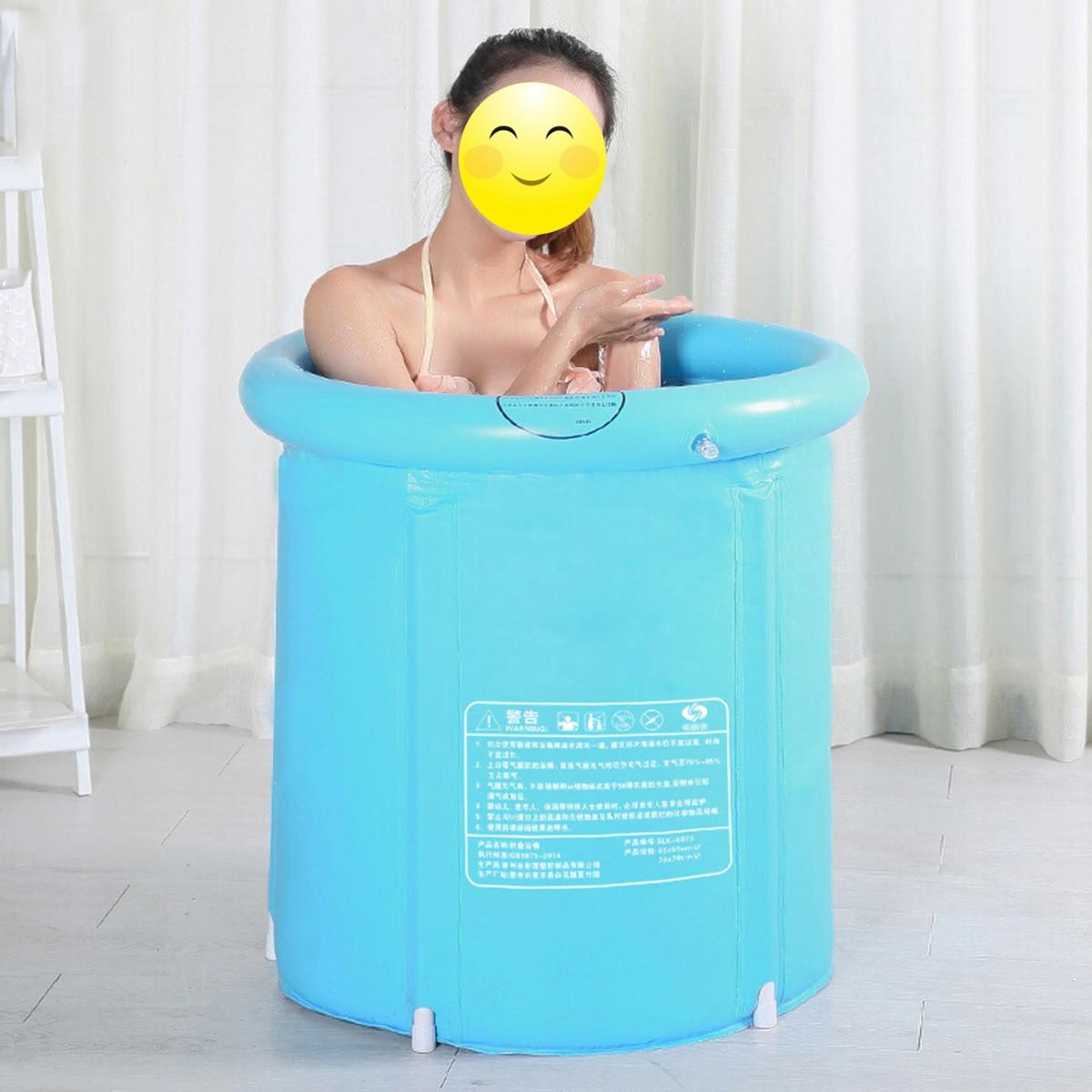 Plateaux de baignoire en plastique pliables portables baignoire gonflable adulte épaissie maison piscine de Massage SPA unique seau de bain robuste