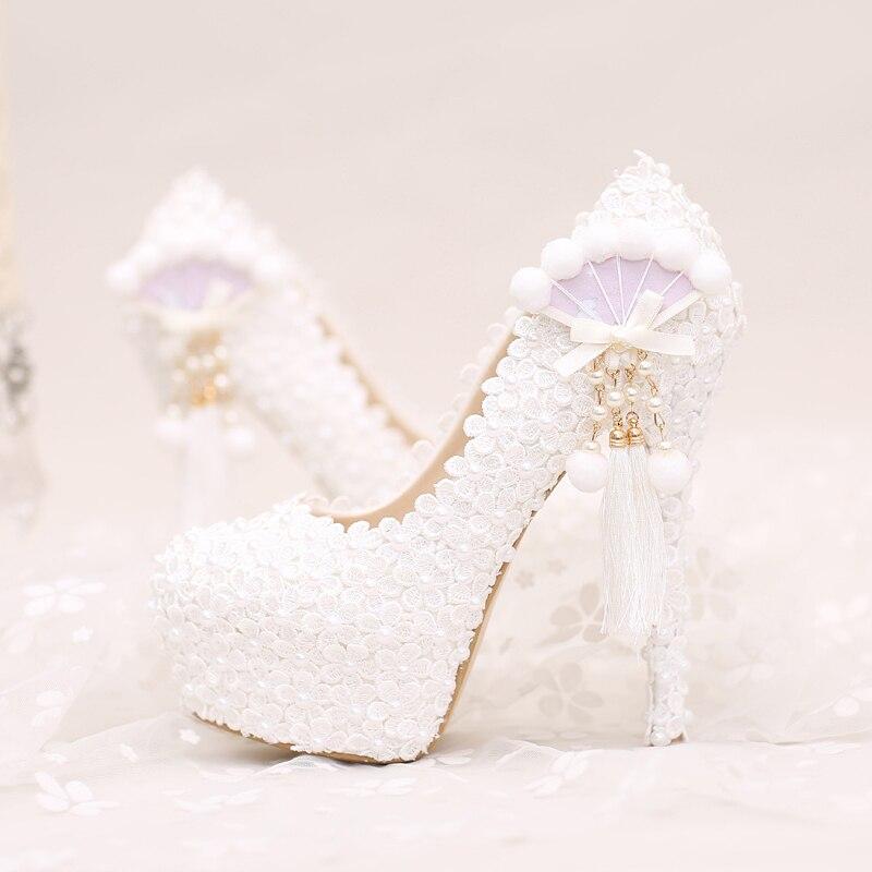 Magnifique Pompes De Mariée Femmes Avec formes Blanc Dentelle Appliques Partie Gland Plates Conception Mariage Bal Belles White Chaussures B87B1q46w