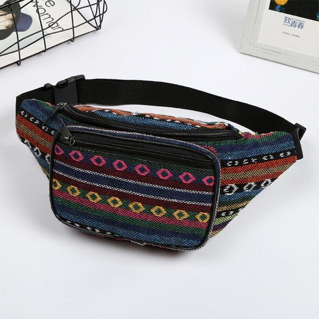 Vintage New Ethnic Design Canvas Women Girls Fanny Pack Waist Bag Travel Phone Chest Belt Bags Pouch Female Shoulder Waist Bags