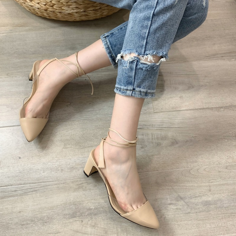 2019 Fashion Pointed toe Square Heel Woman Shoes in Transparent Side For Ladies Spring Sexy Ankle Lace up Shoe2019 Fashion Pointed toe Square Heel Woman Shoes in Transparent Side For Ladies Spring Sexy Ankle Lace up Shoe