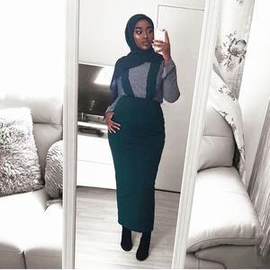 Image 5 - 5 couleurs Abaya jupe musulmane femmes jarretelle jupe Maxi crayon moyen orient moulante Abaya taille haute gaine longue jupe islamique nouveau
