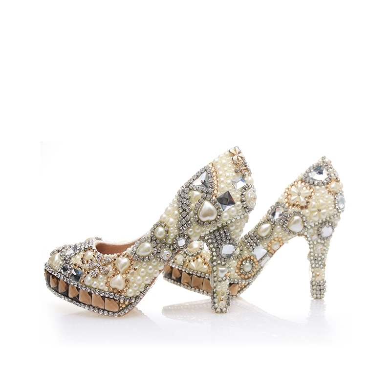 Gorgeous Rhinestone With Ivory Pearls High Heels Beautiful Bridal Wedding Stiletto Party Prom Cinderella Banquet Women ShoesGorgeous Rhinestone With Ivory Pearls High Heels Beautiful Bridal Wedding Stiletto Party Prom Cinderella Banquet Women Shoes