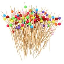 100 шт 12 см коктейльные палочки, креативные разноцветные Круглые бусинки ручной работы, закуска, выбор фруктов, вечерние палочки(смешанные