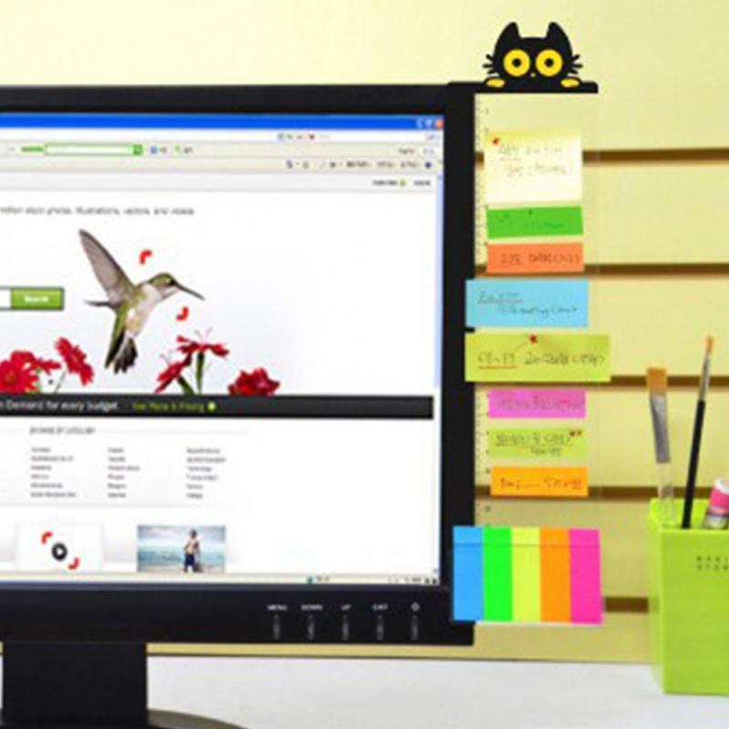 Computer Monitor Message Board Side Panel Screen Holder Self-adhesive Notes Memo Board Left Or Right Type W Card Holder #25