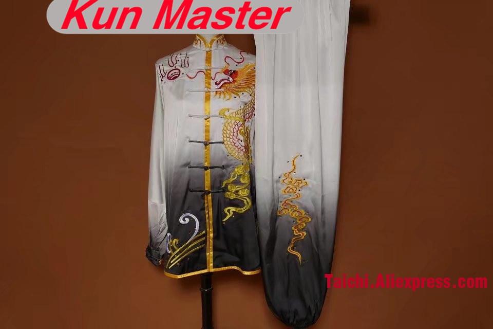 Man Custom Tai Chi Performance Uniform Dragon Embroidery  Martial Art Clothing For Kung Fu  White And Gray Gradual Change Colors