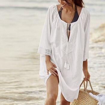 03c214841636 Túnica de algodón 2019 para La Playa Mujeres traje de baño cubrir para  mujer traje de baño playa cubrir para playa Pareo Vestido de playa Saida de  ...