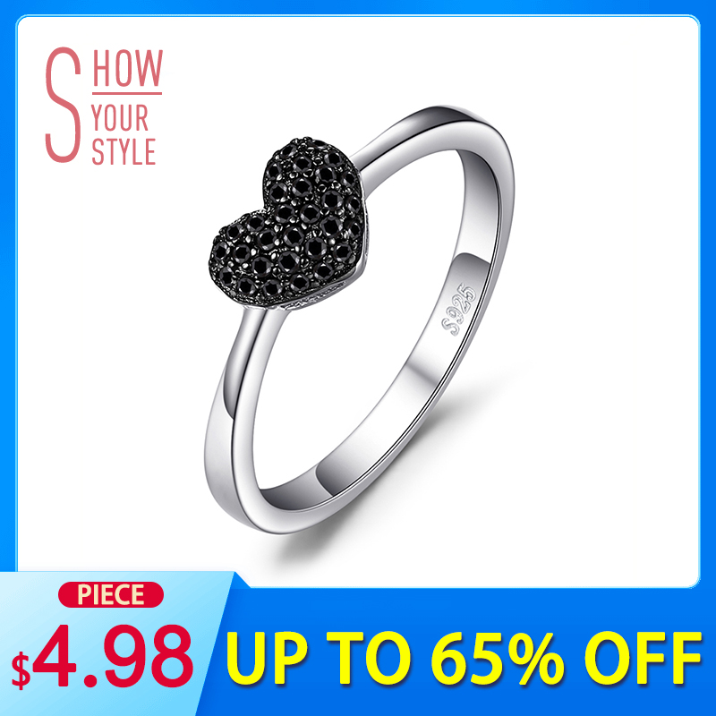 KorutPalace Fashion Natural Black Spinel Love Heart Rings naisille 100% 925 Sterling Silver Häät Lahjat Fine Korut
