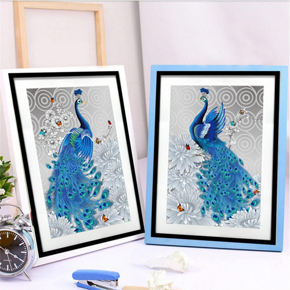 AsyPets 30X43CM 5D No Fade Round Diamond Art Embroidery Peacock Painting Home Decoration