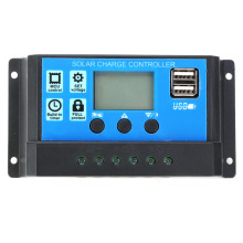 12V/24V Auto Solar Cell Panel Charge Controller 10A 20A 30A Dual USB LCD Display PWM Solar Charge Controller Regulator epever 45a solar controller 12v 24v 36v 48v auto vs4548au pwm charge controller with built in lcd display and double usb 5v port