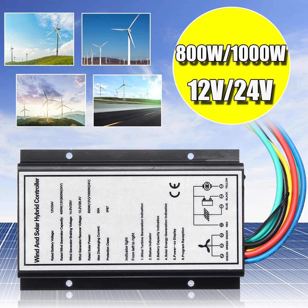 12V/24V 30A 500w/1000w Waterproof Wind Solar Controller Generator Charge 400W/800W Wind And Light Hybrid Regulator Controller
