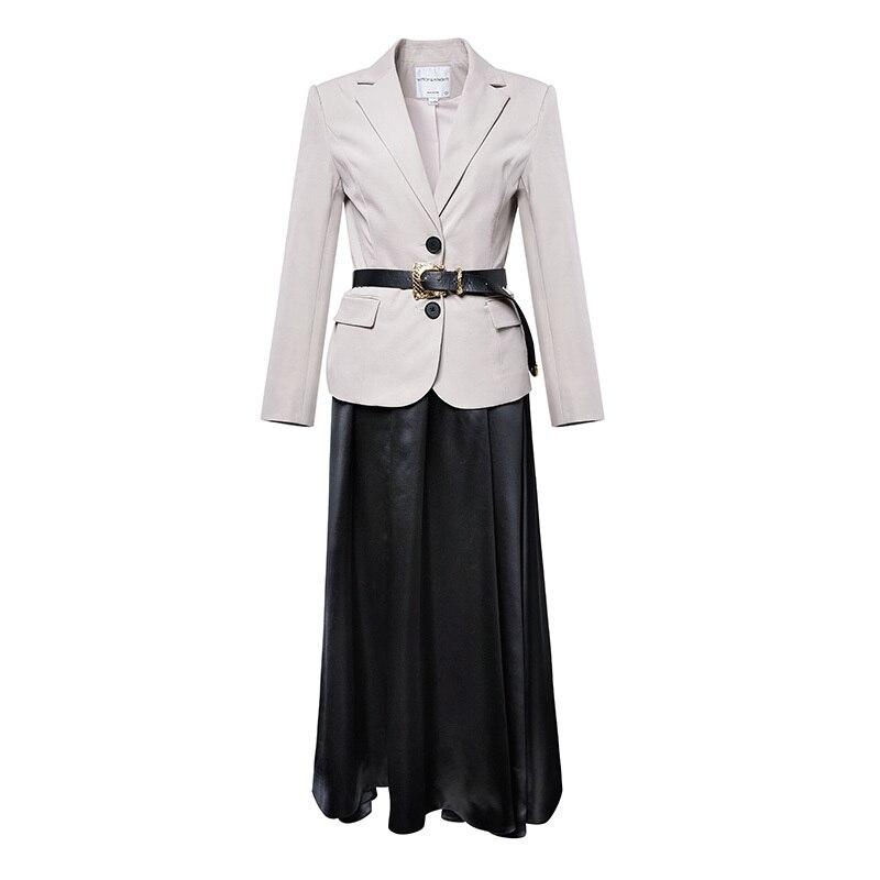 Femmes Printemps Jupe Ceintures Ab222 Ensembles Designer Drapé Costumes Costume 2019 Haut A Vêtements Grade Des ligne Avec Veste Black Longue Blazer Mince De nqH61XY