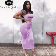 NewAsia 2 Layers Two Piece Set Summer Clothes For Women Pink Outfits Neon Sexy Crop Top Skirt Matching Sets 2019