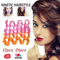 24 pièces magique Curl Formers spirale boucles levier rouleaux outil Long cheveux bigoudis eau ondulation bigoudi