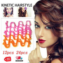 24Pcs Magic Curl Formers Spiral Ringlets Leverage Rollers Tool Long Hair Curlers Water Ripple Curler