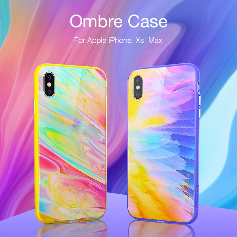 66d2f7ce4ba9a Ombre Case For Apple Iphone XS Max Case IPhone XR Nillkin Colorful Mirror  Effect Back Cover 2.5D Tempered Glass + Hard PC Cases