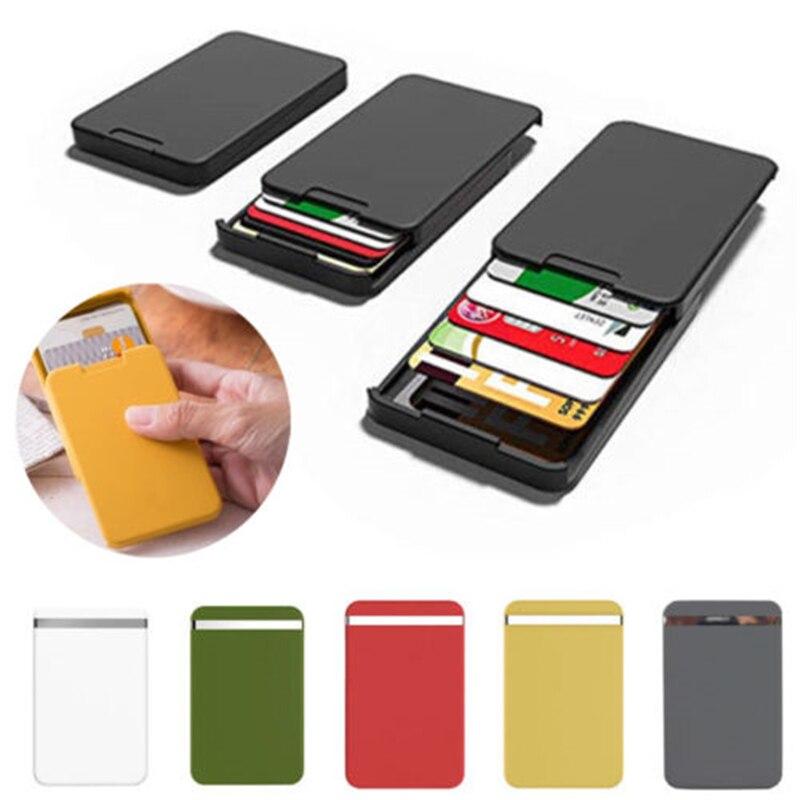 De alta calidad de PC de dinero titular de la tarjeta de los hombres de negocios RFID bloqueo billetera de tarjeta de crédito caso Protector Anti-lado bolsillo monedero