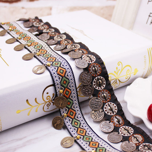 Image 2 - Ethnic Polyester Lace Trim With Copper Decoration Vintage Fabric Ribbon Sewing Crafts Accessory Embellishment 20/25 mm 0.9m 1 PC