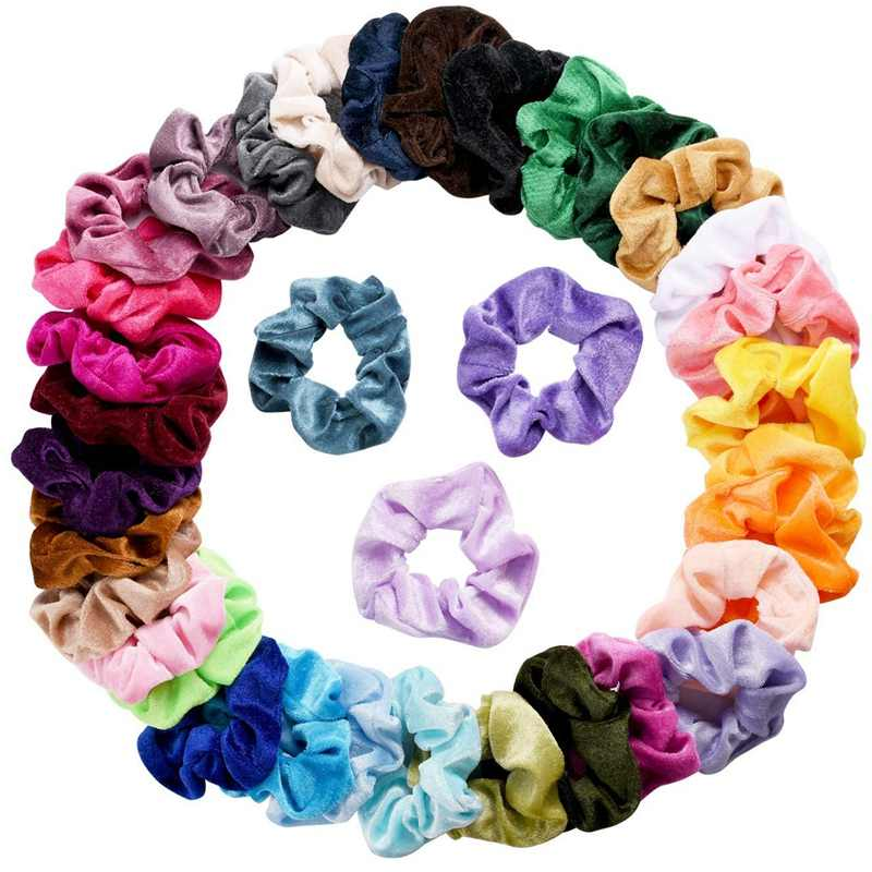 36 piece velvet hair scrunchies