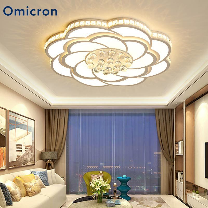 Omicron Led Ceiling Lights Wedge Ironware Acrylic Crystal Lights Adjustment Lamp Living Room Bedroom Kitchen Remote Control in Ceiling Lights from Lights Lighting