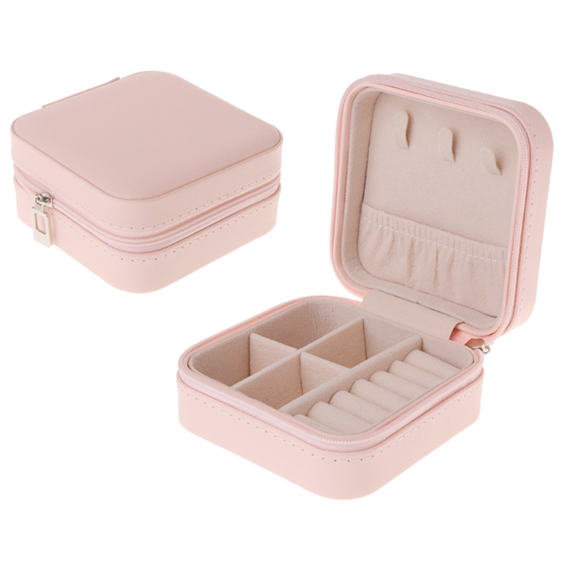 Portable Jewelry Box Zipper PU Storage Organizer Jewelry Holder Packaging Display Travel Jewelry Case Gift Boxes For Women